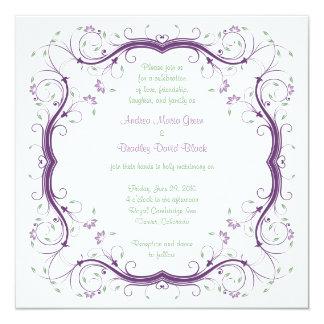 Purple Green Floral Scroll Wedding Invitation