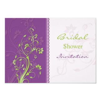 Purple & green floral swirls Bridal Shower Invite