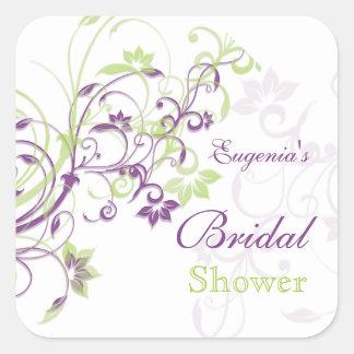 Purple green floral swirls Bridal Shower Sticker
