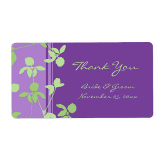 Purple Green Floral Swirls Wedding Labels