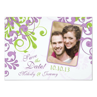 Purple Green Floral Wedding Photo Save the Date Card