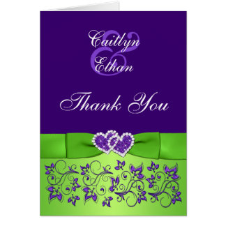 Purple, Green Floral Wedding PHOTO Thank You Card