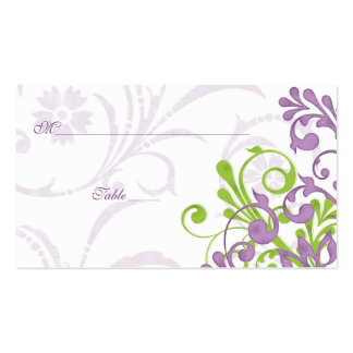 Purple Green Floral Wedding Place or Escort Cards