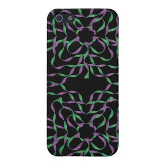 Purple Green Flower 3D Ribbons iPhone 4 Speck Case iPhone 5 Cover