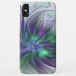 Purple Green Flower Abstract Art Fractal Monogram iPhone XS Max Case
