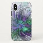 Purple Green Flower Abstract Art Fractal Monogram iPhone X Case