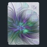 """Purple Green Flower Abstract Art Fractal Monogram iPad Pro Cover<br><div class=""""desc"""">A magical flower for You. Design for your iPad cover and more. Customize the product by adding your own monogram or name using the text templates.  You also can delete this.</div>"""