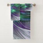 Purple Green Flower Modern Abstract Art Fractal Bath Towel Set