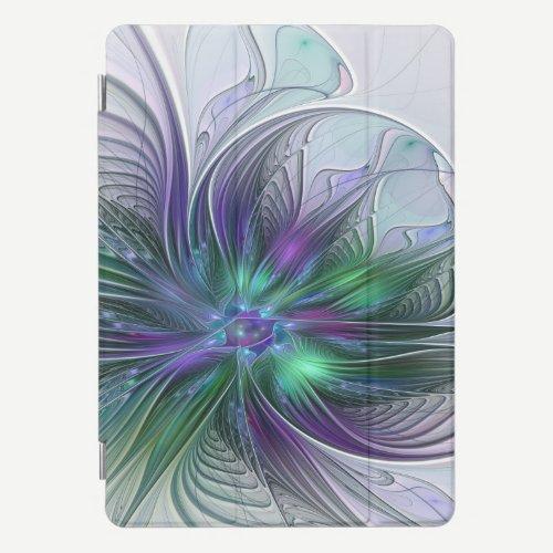 Purple Green Flower Modern Abstract Art Fractal iPad Pro Cover
