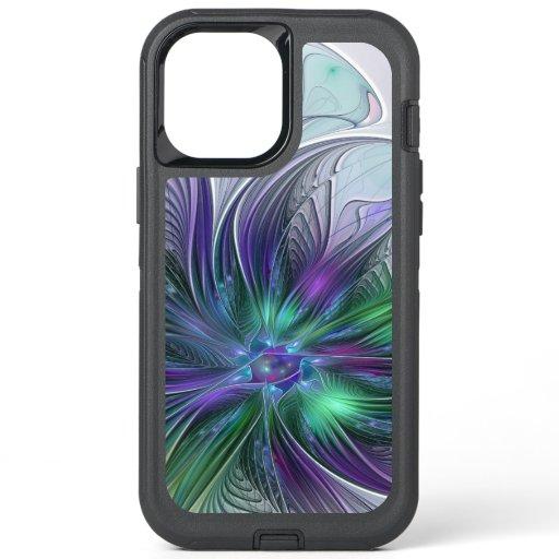 Purple Green Flower Modern Abstract Art Fractal OtterBox Defender iPhone 12 Pro Max Case