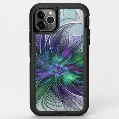 Purple Green Flower Modern Abstract Art Fractal Phone Case