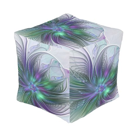 Purple Green Flower Modern Abstract Art Fractal Pouf