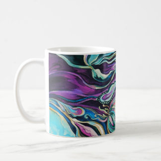 purple / green flowers 325 ml  Classic White Mug