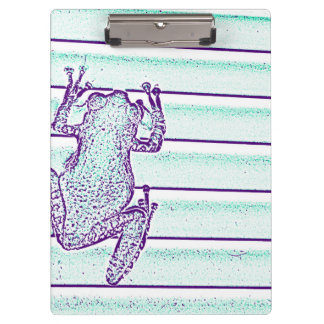 purple green frog design on stripes clipboards
