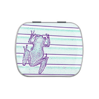 purple green frog design on stripes jelly belly tin