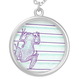 purple green frog design on stripes pendants