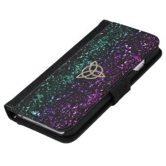 Purple Green Glitter Celtic Trinity Wallet Case