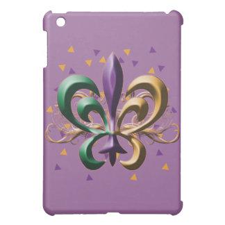 Purple, Green, Gold Fleur de Lis iPad Case