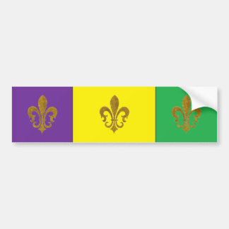 PURPLE GREEN GOLD HAPPY MARDI GRAS BUMPER STICKER