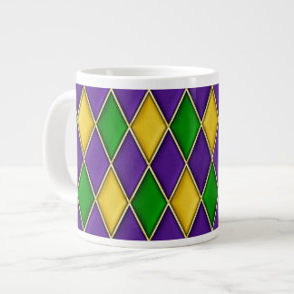 Purple Green Gold Mardi Gras Harlequin Pattern Mug