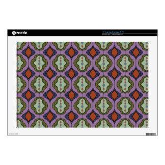 "Purple Green Gothic Ogee Quatrefoil 17"" Laptop Skin"