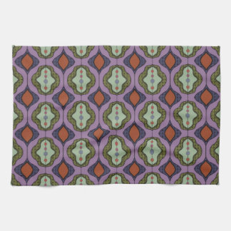 Purple Green Gothic Ogee Quatrefoil Hand Towels