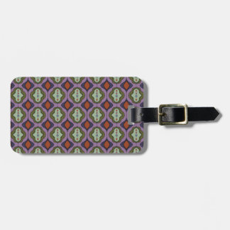 Purple Green Gothic Ogee Quatrefoil Luggage Tag