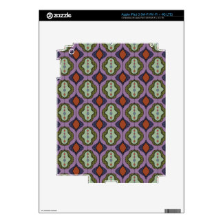Purple Green Gothic Ogee Quatrefoil Skin For iPad 3