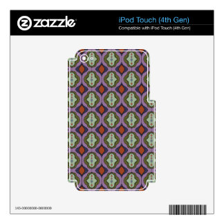 Purple Green Gothic Ogee Quatrefoil Skins For iPod Touch 4G