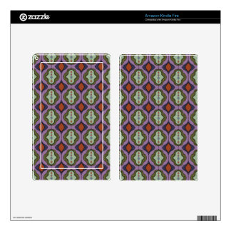 Purple Green Gothic Ogee Quatrefoil Skins For Kindle Fire
