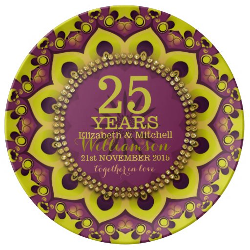 Purple Green Groovy Bohemian Anniversary Gift Dinner Plate