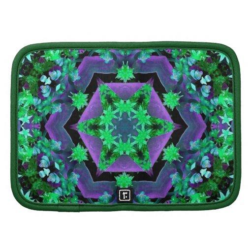 Purple Green Hexagon Kaleidoscope Mandala Folio Planners