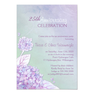 Purple   Green Hydrangea 25th Wedding Anniversary Card