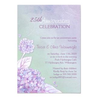 Purple   Green Hydrangea 25th Wedding Anniversary Card