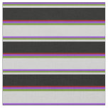 [ Thumbnail: Purple, Green, Light Gray, Black & Dark Red Lines Fabric ]