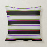 [ Thumbnail: Purple, Green, Light Gray, Black & Dark Red Lines Throw Pillow ]