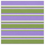 [ Thumbnail: Purple, Green & Light Yellow Colored Stripes Fabric ]