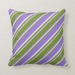 [ Thumbnail: Purple, Green & Light Yellow Colored Stripes Throw Pillow ]