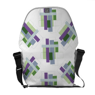 Purple & Green Line Art Design Messenger Bag