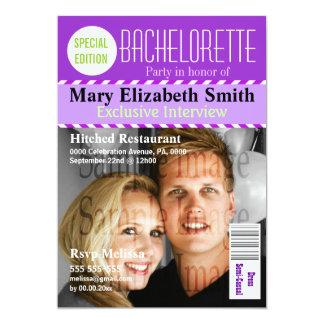 Purple green magazine chevron PERSONALIZE Card