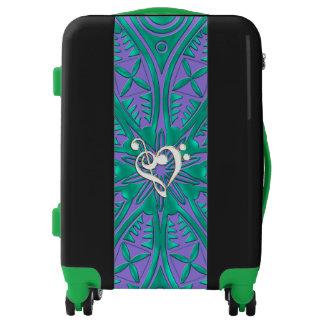 Purple Green Mandala and Music Clef Heart Luggage