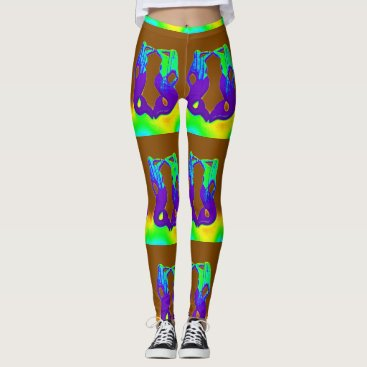 Beach Themed purple green mermaid leggings