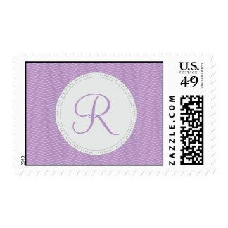 Purple Green Monogram Thin Chevron Pattern Stamp