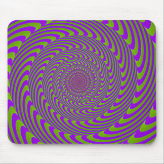 Purple Green Moving Swirl illusion Mouse Pad