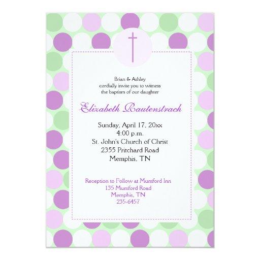Purple/Green Multicolor Dot Baptism Invitation