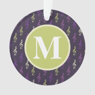 Purple Green Music Note Pattern Monogram