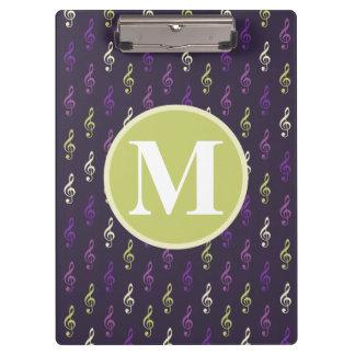 Purple Green Music Note Pattern Monogram Clipboard