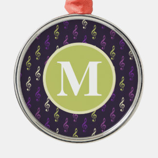 Purple Green Music Note Pattern Monogram Christmas Tree Ornaments