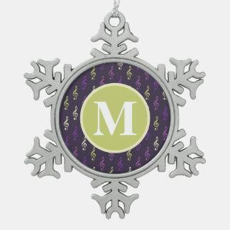 Purple Green Music Note Pattern Monogram Ornaments