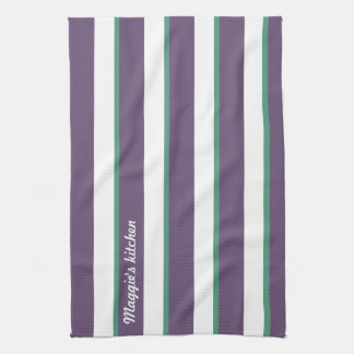 Purple Green Name wide and thin vertical stripes Kitchen Towels